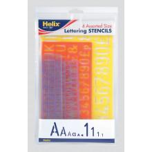 Helix Lettering Stencils 4 Asst Sizes