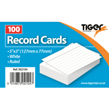 "White Ruled Record Cards 5""x3"" 100s"