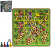 Retro Snakes & Ladders Game 21x21x5cm