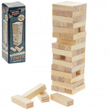 Retro Wooden Tower Game 5x5x16cm
