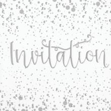 6 Open Invitation Cards Foil Bubbles