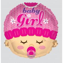 Baby Girl Face Foil Balloon