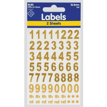 Labels - Gold Foil Numbers 13.5mm