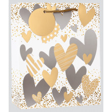 Medium Gift Bag Hearts Foil