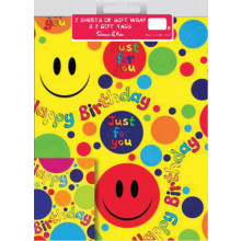 Flat Gift Wrap & Tags Smiley Face F2554