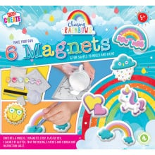 Kids Create Mould & Paint Magnets Pack 6 - Contains Moulds, Magnetic Strip, Mixing Tray, Glitter Sachet, Paints and Brush