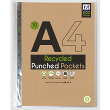 A4 Recycled Punched Pockets Pack 10