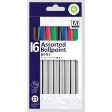 Ballpoint Pens Blue/Black/Red/Green 16's
