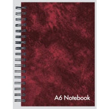 A6 Leather Look Wire Notebook 144 Pages
