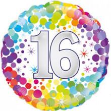 """Confetti Age 16 Foil Balloon 18"""""""