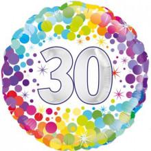"""Confetti Age 30 Foil Balloon 18"""""""