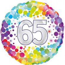 """Confetti Age 65 Foil Balloon 18"""""""