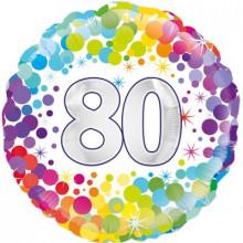 """Confetti Age 80 Foil Balloon 18"""""""