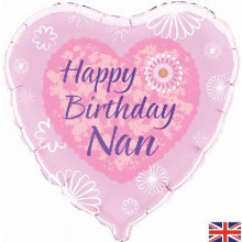 "Happy BIrthday Nan Pink Heart Foil Balloon 18"""
