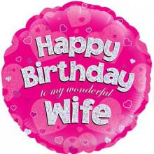 "Happy Birthday Wife Foil Balloon 18"""