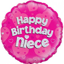 "Birthday Niece Pink Foil Balloon 18"""