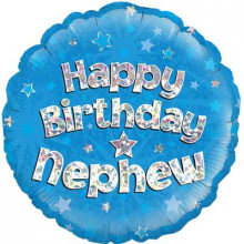 Birthday Nephew Blue Foil Balloon 18""