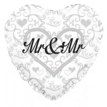 "Silver Heart Mr & Mr Foil Balloon 18"""