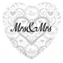 "Silver Heart Mrs & Mrs Foil Balloon 18"""