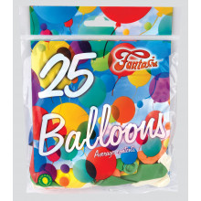 "9"" Assorted Balloons Pack 25 CDU"
