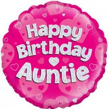 "Birthday Auntie Pink Foil Balloon 18"""