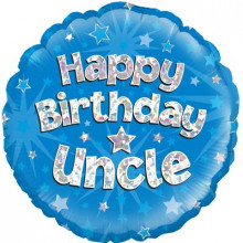Birthday Uncle Blue Foil Balloon 18""