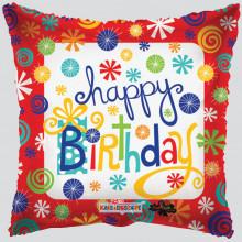 Foil Balloons Happy Birthday Swirls