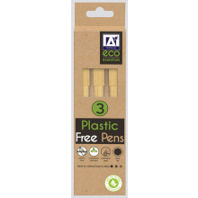 Recycled Kraft Barrel Eco Pens Pack 3