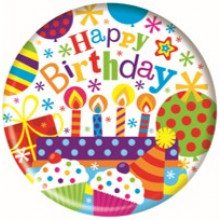 Happy Birthday 55mm Small Badges