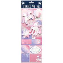Pk 30 Stickers/Gift Tags Unicorn