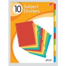 A4 Card Subject Dividers 10 Part