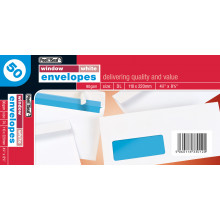 White Envelopes Window DL Peel & Seal