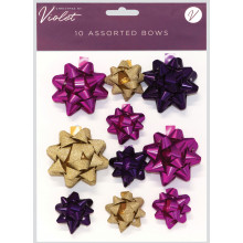 XD02111 Bows Pink + Gold Assorted 10 Pk