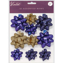 XD02304 Bow Blue + Gold Assorted 10 Pack