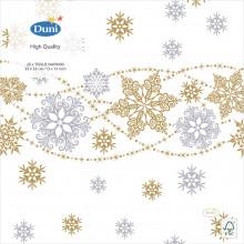 XD05711 Napkins 33cm Snow Glitter White