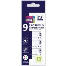 Erasers & Sharpeners Set - Includes 5 Erasers & 4 Coloured Sharpeners