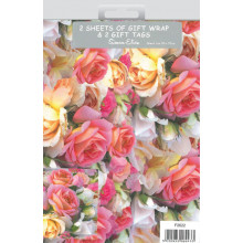 Flat Gift Wrap & Tags Roses F2622