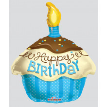 Foil Balloons Birthday Candle Shape Blue