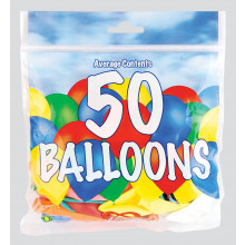 "9"" Assorted Balloons Pack 50 CDU"