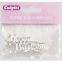 Culpitt Happy Birthday Cake Silver Motto
