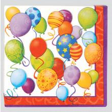 Napkins 33cm B/Day Balloons