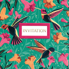 6 Open Invitation Cards Hummingbird