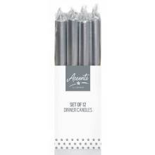 XD05612 Silver Metallic Dinner Candle