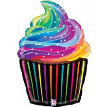 "Rainbow Cupcake Foil Balloon 27"" Shape"