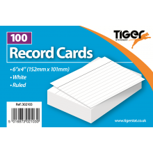 "White Ruled Record Cards 6""x4"" 100s"