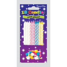 Assorted Glitter Spiral Candles & Holder