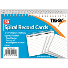 """White Ruled Spiral Record Cards 6x4"""" 100"""