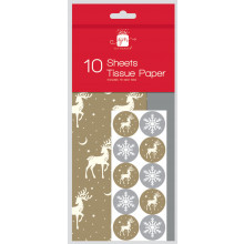 10 Sheet Stag & Silver Tissue Paper