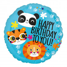 "Foil Balloons Birthday Lion/Panda 18"""