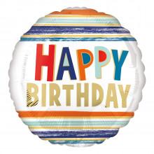 "Foil Balloons Birthday Stripes 18"""